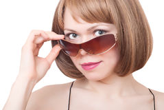 Woman in sunglasses. Portrait of beautiful young woman in sunglasses Royalty Free Stock Image