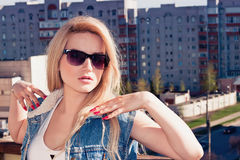 The woman in sunglasses Royalty Free Stock Images