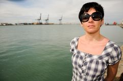 Woman with sunglasses in Andalusian bay Stock Photography