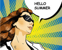 Woman in sunglasses with arrow graph. Vector illustration, comics retro pop art style Royalty Free Stock Photography