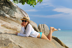 Woman in sunglasses at beach Royalty Free Stock Image