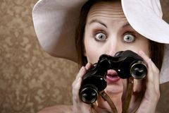 Woman with Sunglasses and Binoculars Stock Photo
