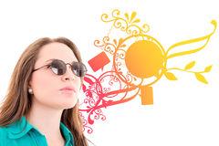 Woman with sunglasses, color background design Stock Photo