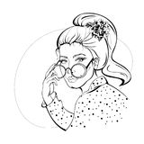 Woman With Sunglasses  Contour. Sketch of young woman with face, hair, flower, round sunglasses, polka dot shirt. Pin-up stylized fashion illustration Royalty Free Stock Images