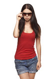 Woman in sunglasses in disgust Royalty Free Stock Image