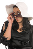 Woman in sunglasses and hat Royalty Free Stock Image