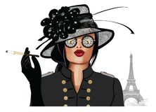 Woman with sunglasses and hat royalty free illustration