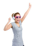 Woman with sunglasses and headphone Stock Photography