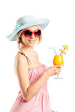 Woman with sunglasses holding an exotic cocktail Stock Photos