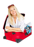 Woman with sunglasses inside suitcase Stock Photography
