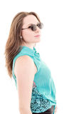 Woman with sunglasses - isolated over a white Stock Image