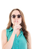 Woman with sunglasses - isolated over a white Royalty Free Stock Photography