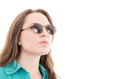 Woman with sunglasses - isolated over a white Stock Photography