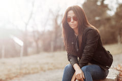 Woman in sunglasses - outdoor portrait Stock Photo