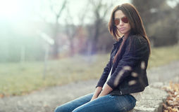 Woman in sunglasses - outdoors portrait Stock Image