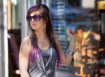 Woman With Sunglasses and Purple Dip Dye Hair Stock Photography