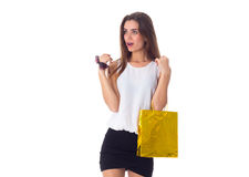 Woman with sunglasses and shopping bag Royalty Free Stock Images