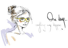 Woman in sunglasses. Sketch of a young woman in sunglasses Vector Illustration