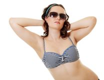 Woman in sunglasses and swimsuit Stock Image