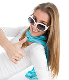 Woman with sunglasses thumbs up Royalty Free Stock Photography