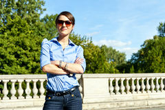 Woman with sunglasses on the trip Royalty Free Stock Photography