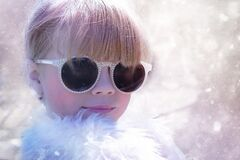 Woman With Sunglasses in White Fur Shirt Royalty Free Stock Images