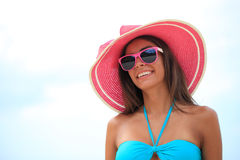 Woman in sunhat. Portrait of a beautiful young woman in sunhat Stock Images
