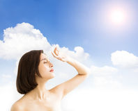 Woman with sunlight .skin care and sun block UV  concept. Young woman with sunlight .skin care and sun block UV  concept Stock Image
