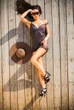 Woman sunning outdoors Stock Photo