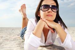 Woman at sunny beach. Royalty Free Stock Photos