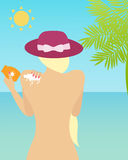 Woman with sunscreen Royalty Free Stock Image