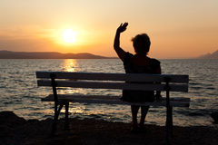 Woman and sunset Royalty Free Stock Photo
