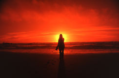 Woman and sunset Royalty Free Stock Images