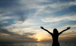 Woman and sunset Royalty Free Stock Photography