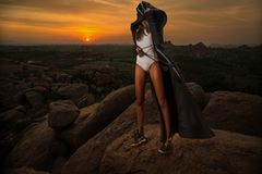 Woman on sunset Royalty Free Stock Images