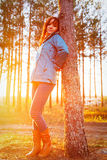 Woman in a sunset lights in autumn forest. Woman in a sunset lights in an autumn forest stock photography