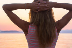 Woman sunset ocean Royalty Free Stock Images