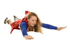 Woman super hero flying look side Stock Photos