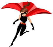 Woman Superhero in Action  Royalty Free Stock Photos