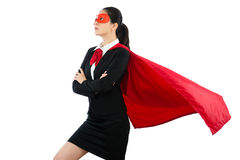 Woman in superhero clothing goggles and cloak stock photography