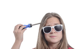 Woman superhero with screwdriver in her head and sunglasses. Royalty Free Stock Photos