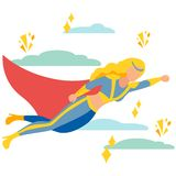 Woman superhero to the rescue. In minimalist style Cartoon flat Vector vector illustration