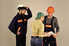 Woman superior. Brigade of workers, builders in helmets, repairers and lady discussing contract, grey background. Recruitment concept. Brigadier, foreman Stock Image