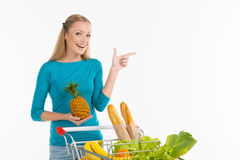 Woman in supermarket. Royalty Free Stock Photos