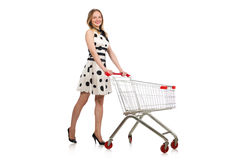 The woman in supermarket shopping concept Stock Photo