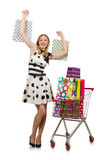 The woman in supermarket shopping concept Royalty Free Stock Image