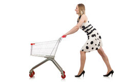 The woman in supermarket shopping concept Royalty Free Stock Photo
