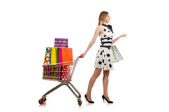 The woman in supermarket shopping concept Royalty Free Stock Photos
