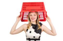 The woman in supermarket shopping concept Stock Photos