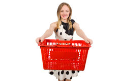 Woman in supermarket shopping concept Stock Photos